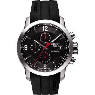 TISSOT T-Sport PRC200 競速三眼計時機械橡膠錶帶腕錶-黑/43mm