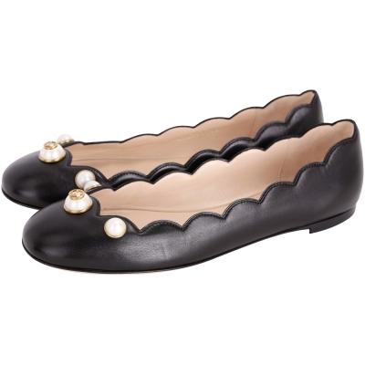 GUCCI 珍珠飾花邊剪裁牛皮娃娃鞋(黑色)