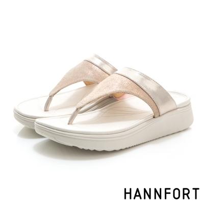 HANNFORT Ultra Comf 4D真皮T字拖鞋-女-玫瑰金
