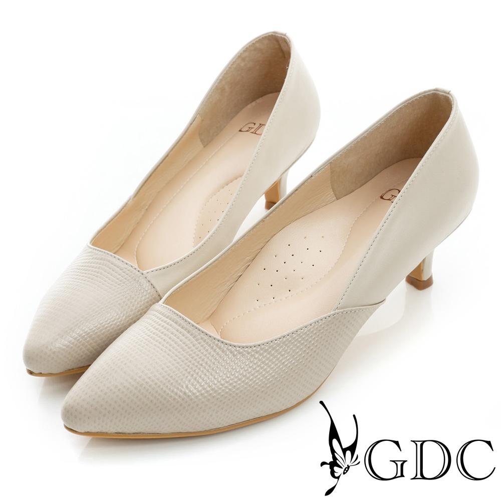 GDC都會-經典拼接尖頭真皮低跟鞋-粉色