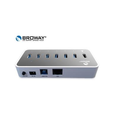 BROWAY USB3.0 6埠集線器+1埠2.4A智慧型快充充電器+1Port網路卡