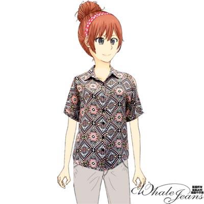 WHALE JEANS幾何圖樣短袖加大款雪紡襯衫-2色