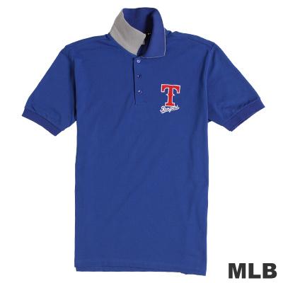 MLB-德州遊騎兵隊運動電繡POLO衫-藍(男)