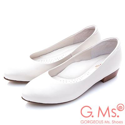 G.Ms.小資X麻吉-MIT小尖頭牛皮低跟包鞋-I款白色
