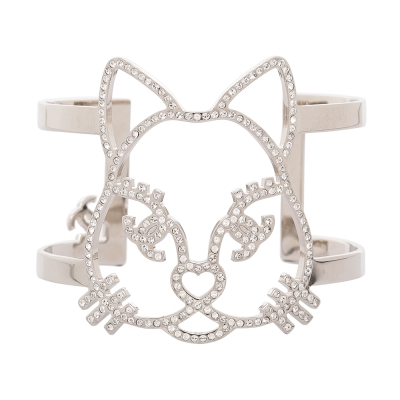 CHANEL 香奈兒限定款水鑽貓咪寬版手環 銀色