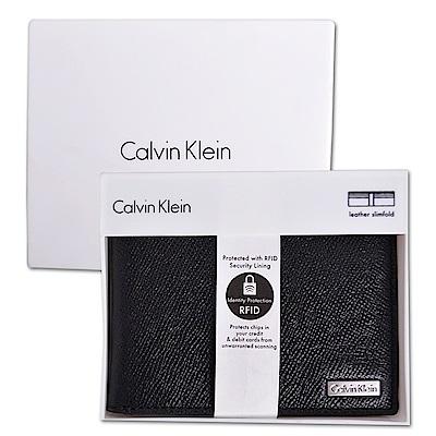 Calvin Klein CK CK經典防刮皮革多卡雙摺短夾-紳士黑(附原廠禮盒)
