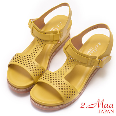 2.Maa-樂活休閒馬卡龍色楔型厚底涼鞋-黃