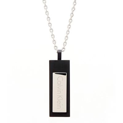 CK Calvin Klein 時尚風的消光黑色長形項鍊