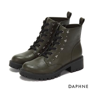 達芙妮DAPHNE 短靴-繫帶星型鉚釘粗中跟馬丁短靴-橄欖綠