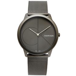 CK Calvin Klein 極簡CK LOGO風格米蘭帶手錶-灰面/35mm