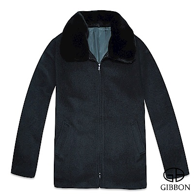 GIBBON 英倫紳士氣質毛領羊毛大衣‧深灰M-XL
