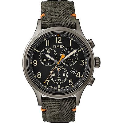 TIMEX 天美時 Allied Chrono系列 復刻潮流三眼計時手錶-黑x綠/42mm