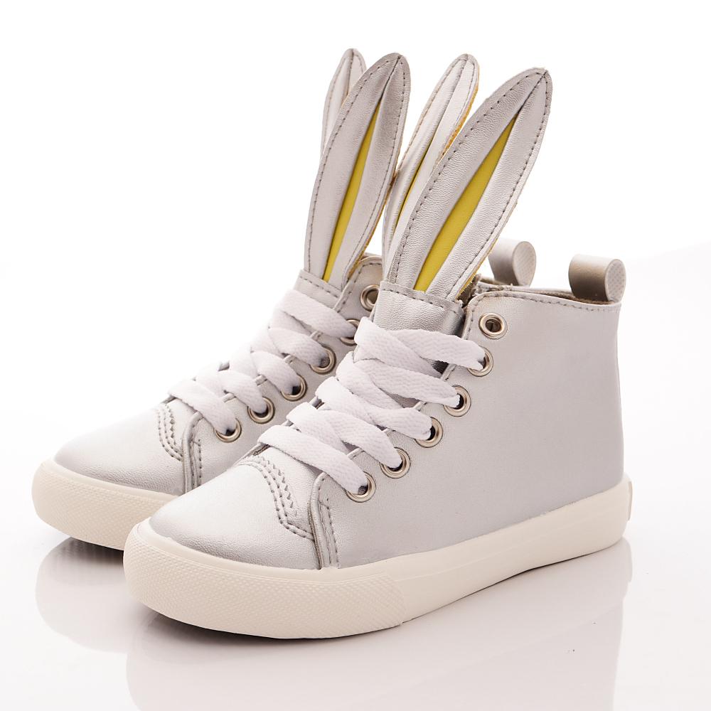 HABU韓版 兔耳朵皮質潮鞋款 K21W-SV 銀 (親子段)T1