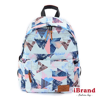 iBrand 學院風印花潮流防潑水口袋後背包-幾何圖形
