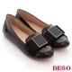 BESO氣質風尚-真皮質感素面拼接方摺舒適平