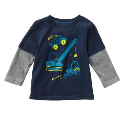歐美風 工程車 男童純棉長袖T恤