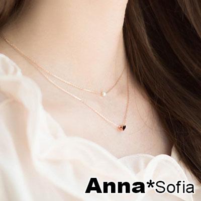 AnnaSofia 氣質甜心珠彩款 層次鎖骨鍊項鍊(金系)