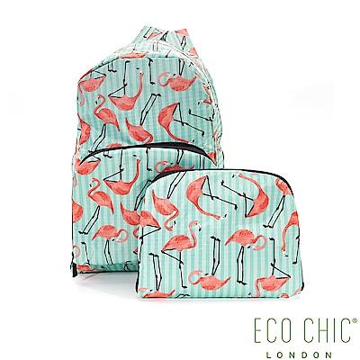 英國ECO CHIC折疊收納後背包-紅鶴