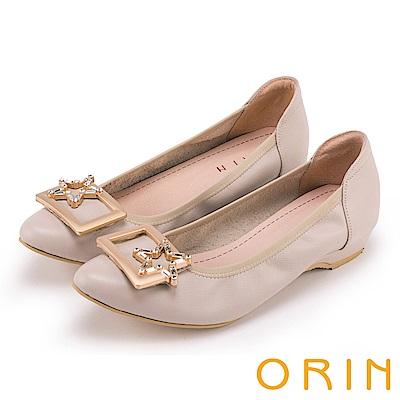 ORIN 氣質甜美風 星星飾釦牛皮尖頭低跟鞋-粉米