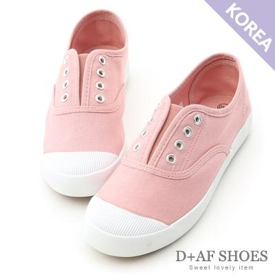 D+AF 活力自在.奶油頭無綁帶休閒帆布鞋*粉