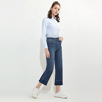 GIORDANO  女裝高腰九分彈力抽鬚微寬直筒牛仔褲-05 中藍