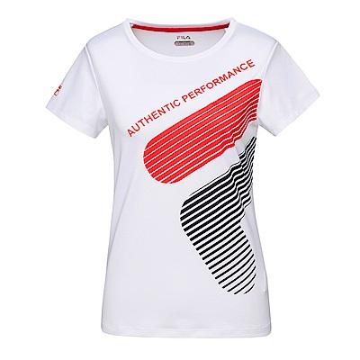 FILA 女抗UV吸濕排汗短袖T恤-白5TES-1616-WT
