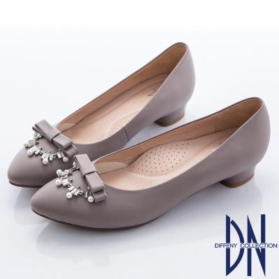 DN-典雅氣質-MIT全真皮蝴蝶結珠飾微尖跟鞋-藕