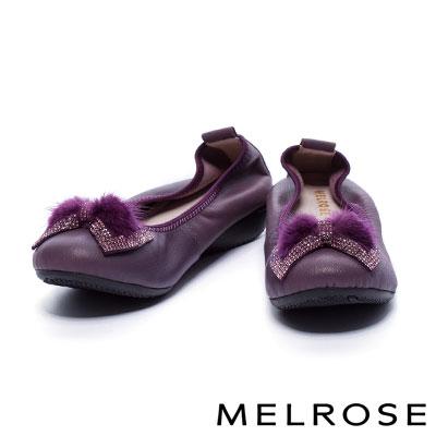 娃娃鞋 MELROSE 閃爍蝴蝶結貂毛球鑽帶點綴超軟Q全真皮厚底娃娃鞋-紫