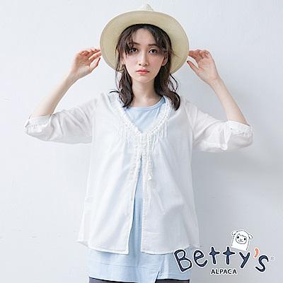 betty's貝蒂思 開釦蕾絲荷葉邊七分袖罩衫(白色)