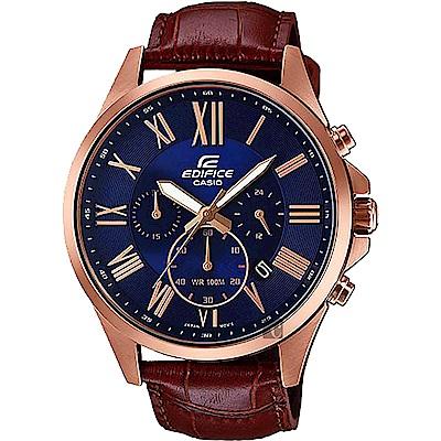 CASIO卡西歐 EDIFICE 羅馬計時手錶-藍x咖啡
