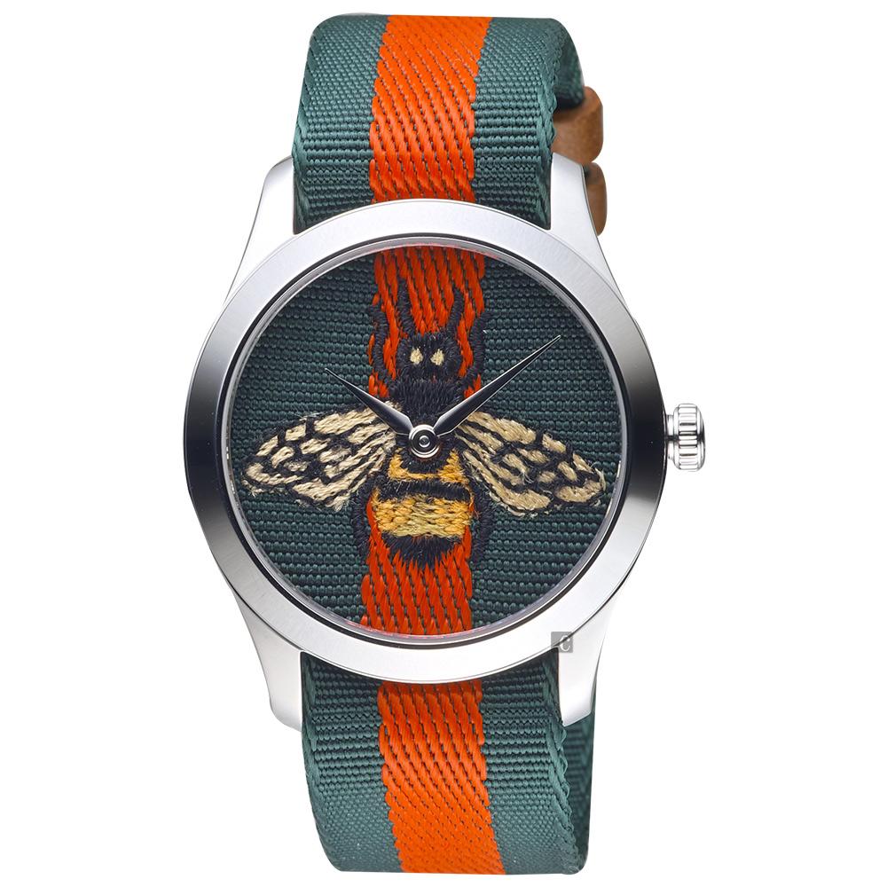 GUCCI古馳 G-Timeless 蜜蜂刺繡手錶-38mm YA1264060