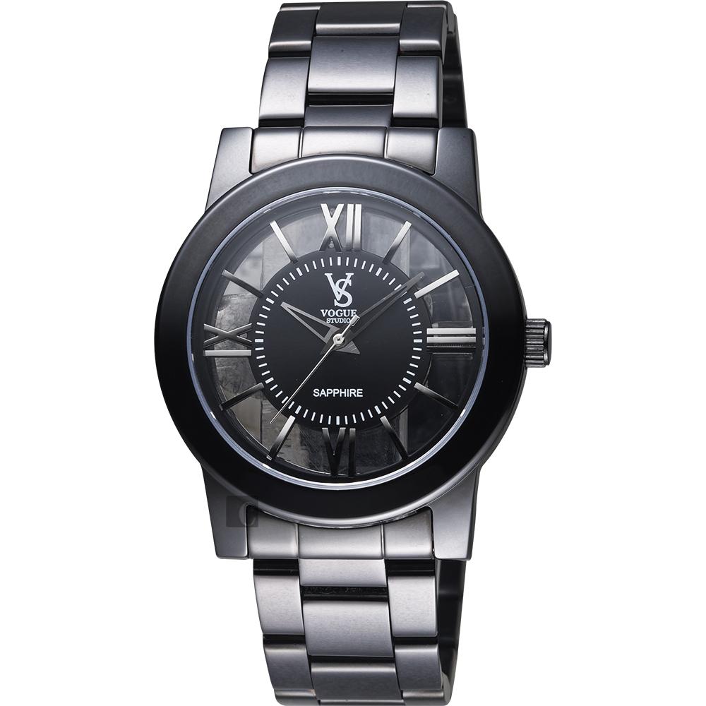 VOGUE 曼波系列鏤空藝術腕錶-黑/38mm