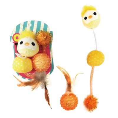 寵喵樂《逗貓玩具-小雞+球+羽毛玩具》一組(LWT-88189)