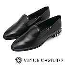 Vince Camuto 英倫搖滾 金屬尖頭低跟樂福鞋-黑色
