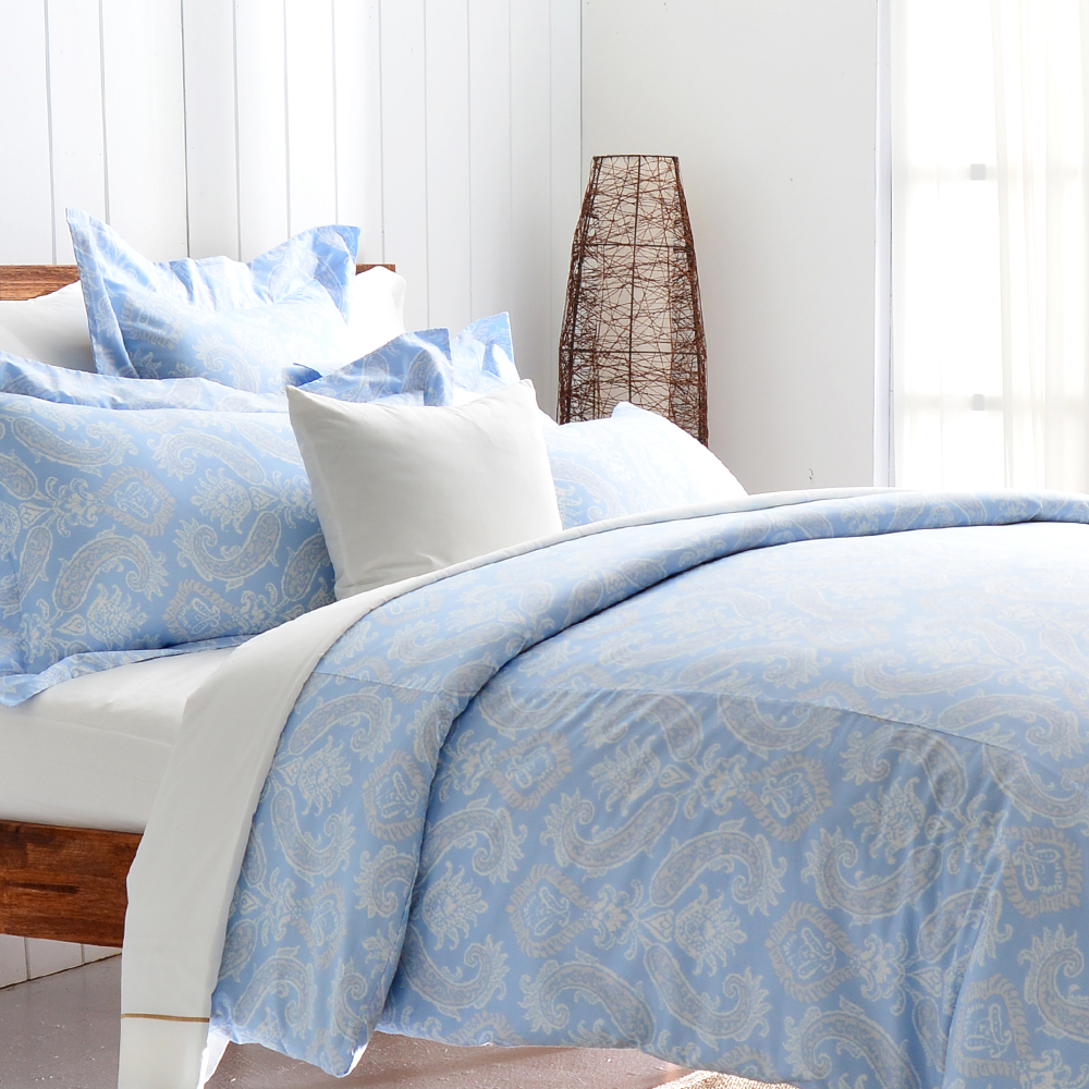 Cozy inn 湛青-淺藍 加大四件組300織精梳棉薄被套床包組