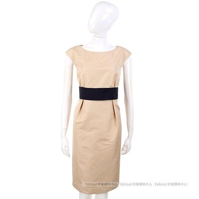 Max Mara-WEEKEND 卡其色拼接腰帶設計包袖洋裝