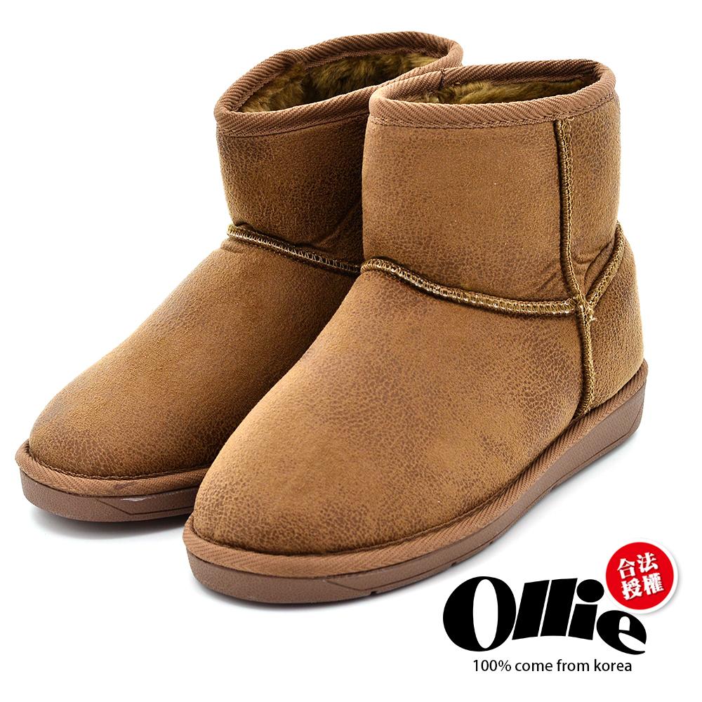 Aviator*韓國空運-Ollie正韓製時尚刷色爆裂皮革鋪毛增高短靴-駝