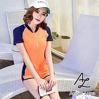 【AngelLuna】雙色短袖兩件式泳裝(日本直送3-10天到貨)