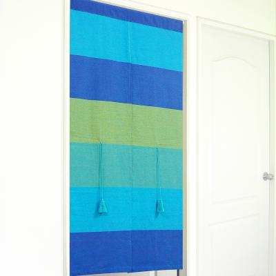 布安於室-色塊純棉中開式長門簾-藍色