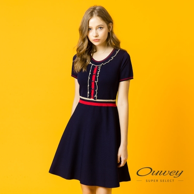 OUWEY歐薇 優雅簡約荷葉背心洋裝(藍)