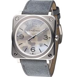 Bell & Ross 迷彩時尚飛行械機腕錶-灰/39mm