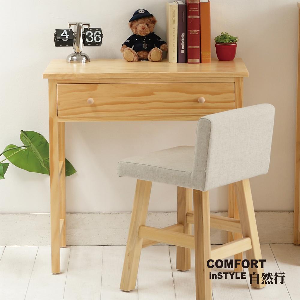 CiS自然行實木家具 書桌-電腦桌-化妝桌-邊桌W80cm(扁柏自然色)