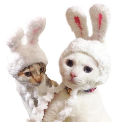 【摩達客寵物】超萌秒變兔兔耳貓咪狗狗頭套(白色系)