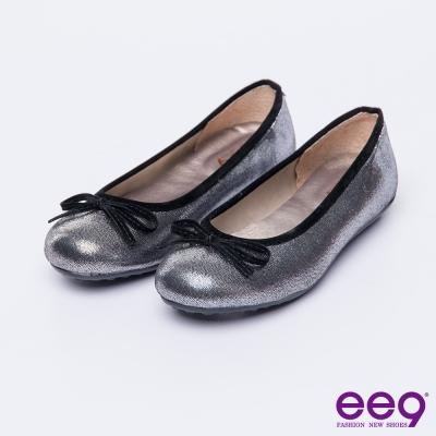ee9 MIT經典手工~潮流派都會優雅蝴蝶結豆豆娃娃鞋*銀色