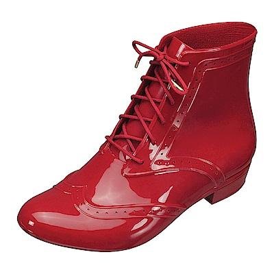 MELISSA 牛津綁帶踝靴-紅