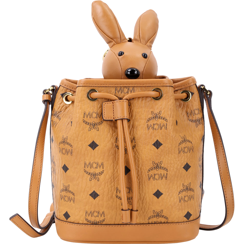 MCM RABBIT 棕色兔子玩偶造型束口水桶包(玩偶可拆當鑰匙圈使用) @ Y!購物