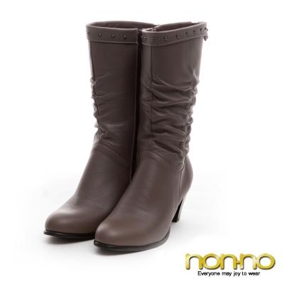 nonno 金屬鉚釘 皺褶個性中靴-卡其