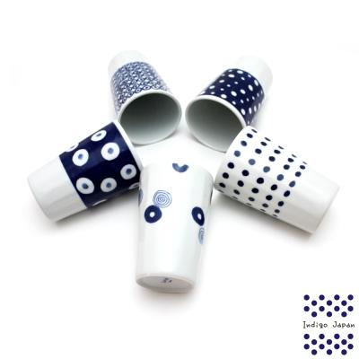 西海輕量波佐見燒五入馬克杯組-藍丸紋