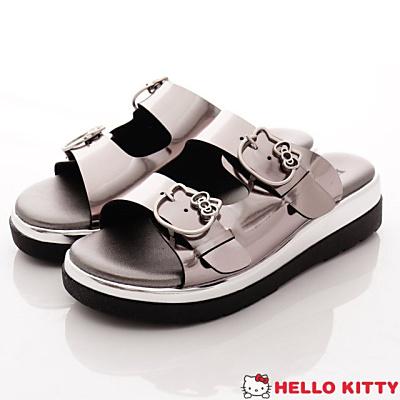Hello Kitty-皮質休閒拖鞋款-NI17184銀(女段)