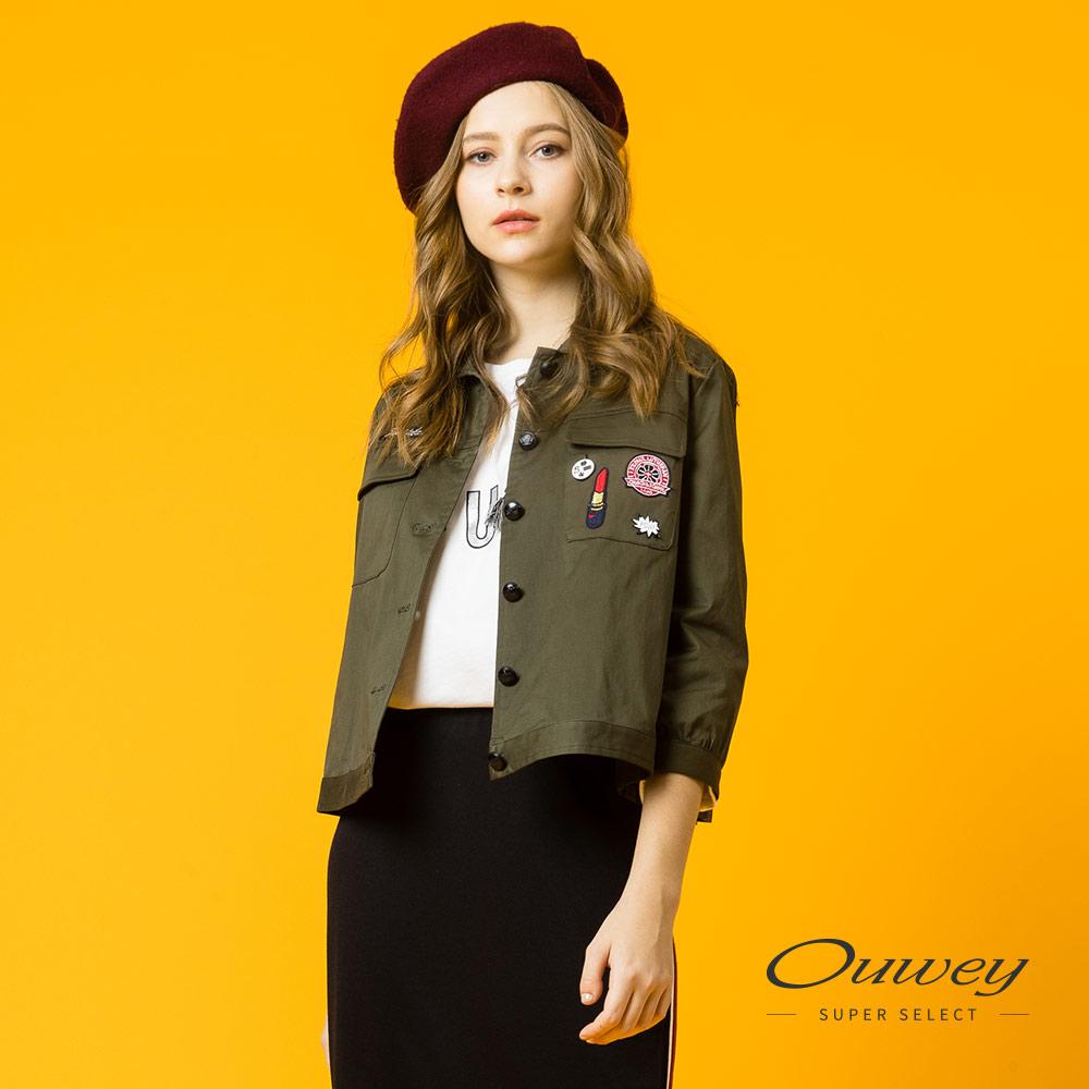OUWEY歐薇 個性貼布繡短版外套(綠) @ Y!購物